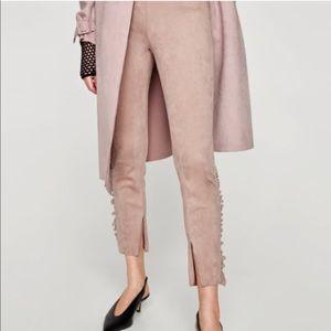 Zara suede ruffle pants